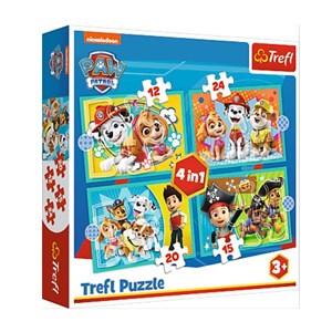 "Trefl (34346) - ""Happy Paw Patrol Team"" - 12 15 20 24 pieces puzzle"