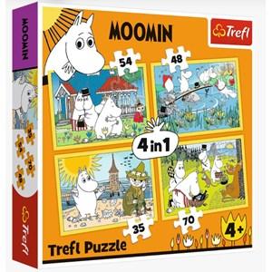 "Trefl (34368) - ""Moomin happy day"" - 35 48 54 70 pieces puzzle"