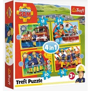 "Trefl (34373) - ""Helpful Fireman Sam"" - 12 15 20 24 pieces puzzle"