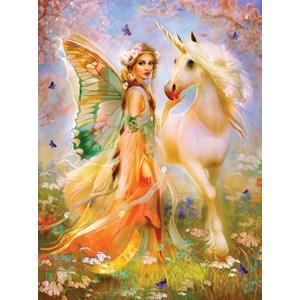 "SunsOut (49006) - Bente Schlick: ""Fairy Princess and Unicorn"" - 1000 pieces puzzle"