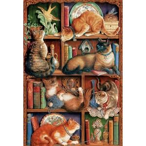 """Cobble Hill (50710) - Janet Kruskamp: """"Feline Bookcase"""" - 2000 pieces puzzle"""
