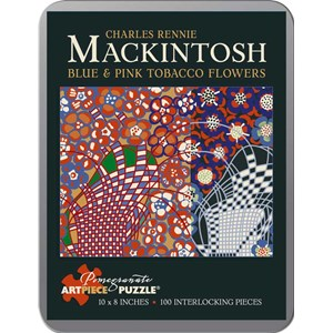 """Pomegranate (AA795) - Charles Rennie Mackintosh: """"Blue and Pink Tobacco Flowers"""" - 100 pieces puzzle"""