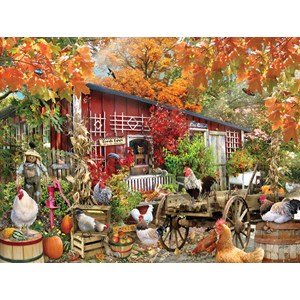 """SunsOut (34871) - Lori Schory: """"Barnyard Chickens"""" - 500 pieces puzzle"""