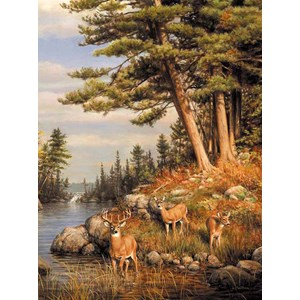 "Buffalo Games (11168) - James Hautman: ""Deer and Pines"" - 1000 pieces puzzle"