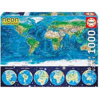 "Educa (16760) - ""Neon World Map"" - 1000 pieces puzzle"