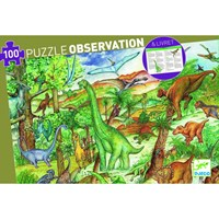 """Djeco (07424) - """"Discover the Dinosaurs + Poster"""" - 100 pieces puzzle"""
