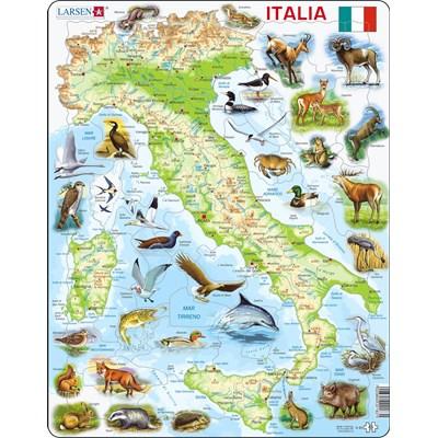 "Larsen (K83-IT) - ""Map of Italy (in Italian)"" - 65 pieces puzzle"